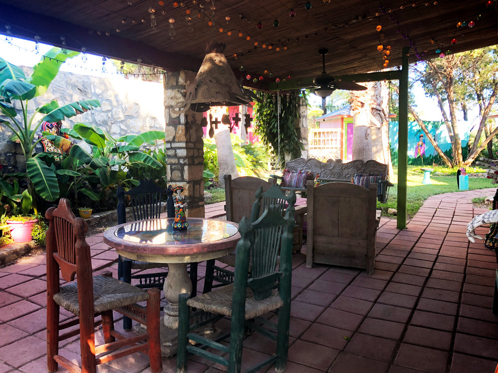 One of several cozy patios on the grounds of the property. This space especially is providing a lot of inspiration for my own patio.