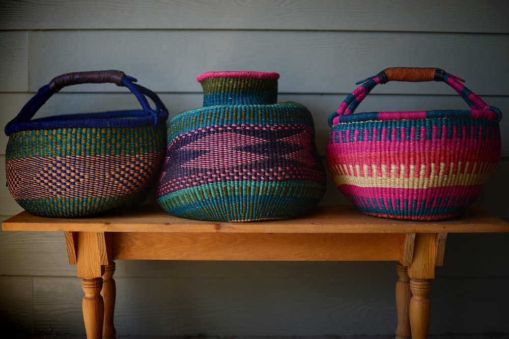 Traditional West African baskets, that I admit that I bought here in the States. The one in the middle is from     D+K Renewal    , an amazing online indie shop, and the two on either end I bought at … wait for it … Whole Foods supermarket.