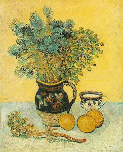 Kasey.Noziska.Ziskova Wallpaper Inspiration.STILL LIFE MAJOLICA WITH WILDFLOWERS VAN GOGH