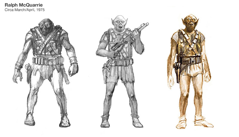 "Three sketches of Chewbacca by Ralph McQuarrie"" Sources - Left: A Gallery of Imagination at Celebration V (2010) / Center: StarWars.com interview (2004) / Right: The Art of Star Wars, page 66."