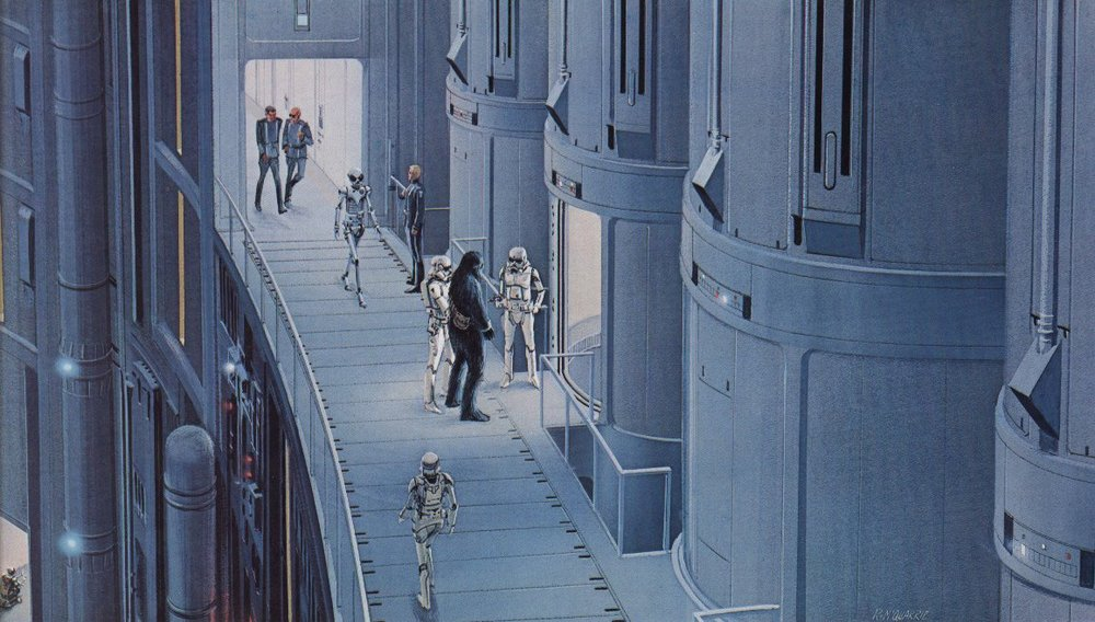 Chewie pretending to be a prisoner by Ralph McQuarrie Source: The Art of Ralph McQuarrie, page 178.
