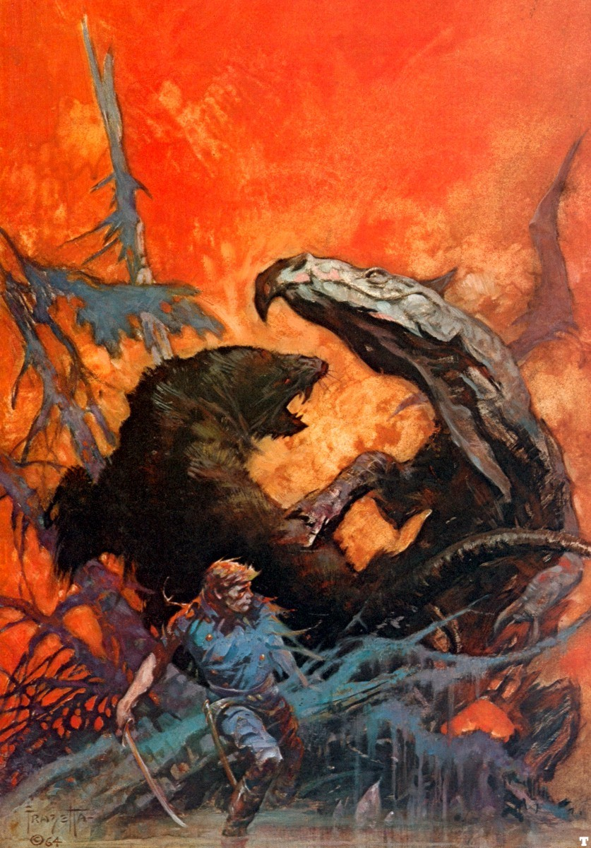 Frank Frazetta's cover for the 1965 re-release of Gulliver of Mars.