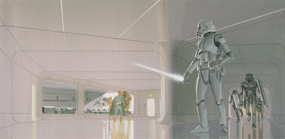 The rescue of Deak from Alderaan by Ralph McQuarrie Source: The Art of Ralph McQuarrie, page 177.