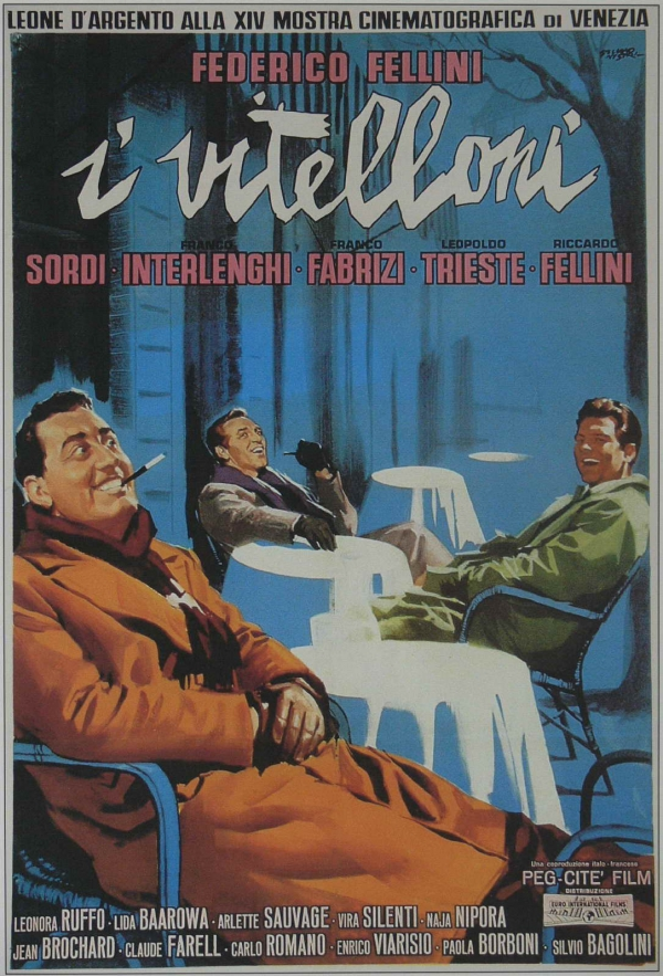 The original poster for  I Vitelloni , showing the film's main character and his friends, doing what they do; hanging out.