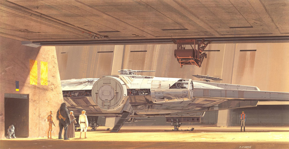 "According to starwars.com  ""Ralph confided that this painting was actually unfinished. He was not intending for the edges of the Millennium falcon to be smooth, but never got around to incorporating the additional details."" As a sidenote, it looks like R2 is leaving, but at the time he didn't roll, he walked! So that is him caught in mid-step, entering the hangar."