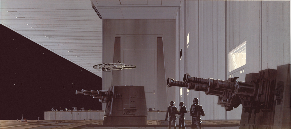 This version of the Pirate Ship lacks the cylindrical cross-section behind the cockpit. It's possible that McQuarrie simply forgot to include it, and didn't have time to return to it (after all he didn't have time to return to paint in the surface detail on other Falcon paintings), but given that it is missing from the sketch as well, it could also indicate an in-progress redesign.