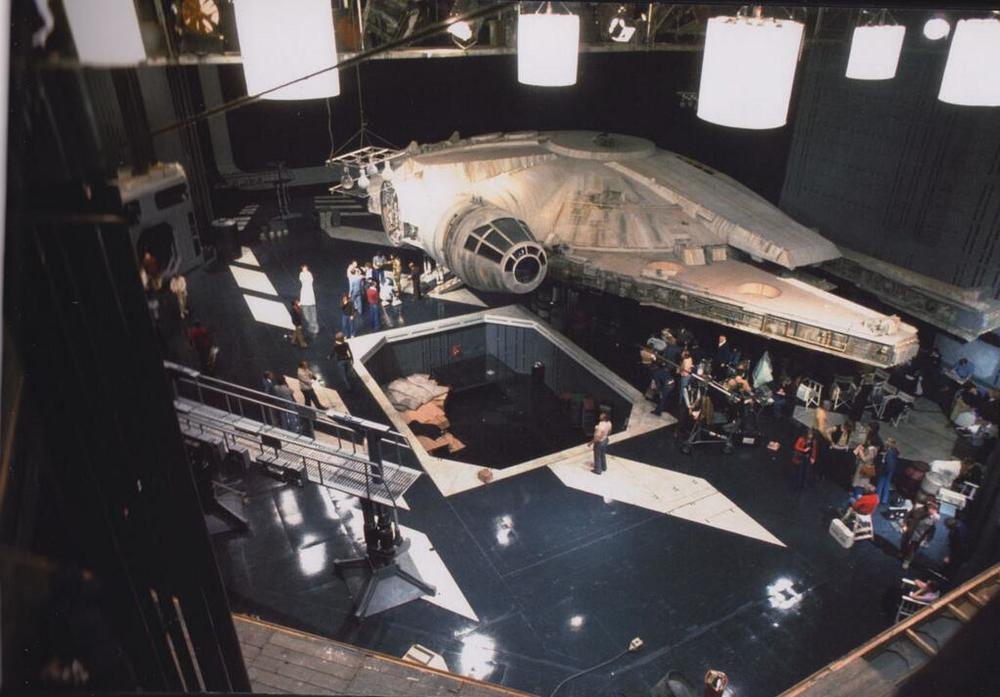 The Death Star hangar bay was part matte painting (when our heroes glance down from above), but otherwise the same Falcon set.