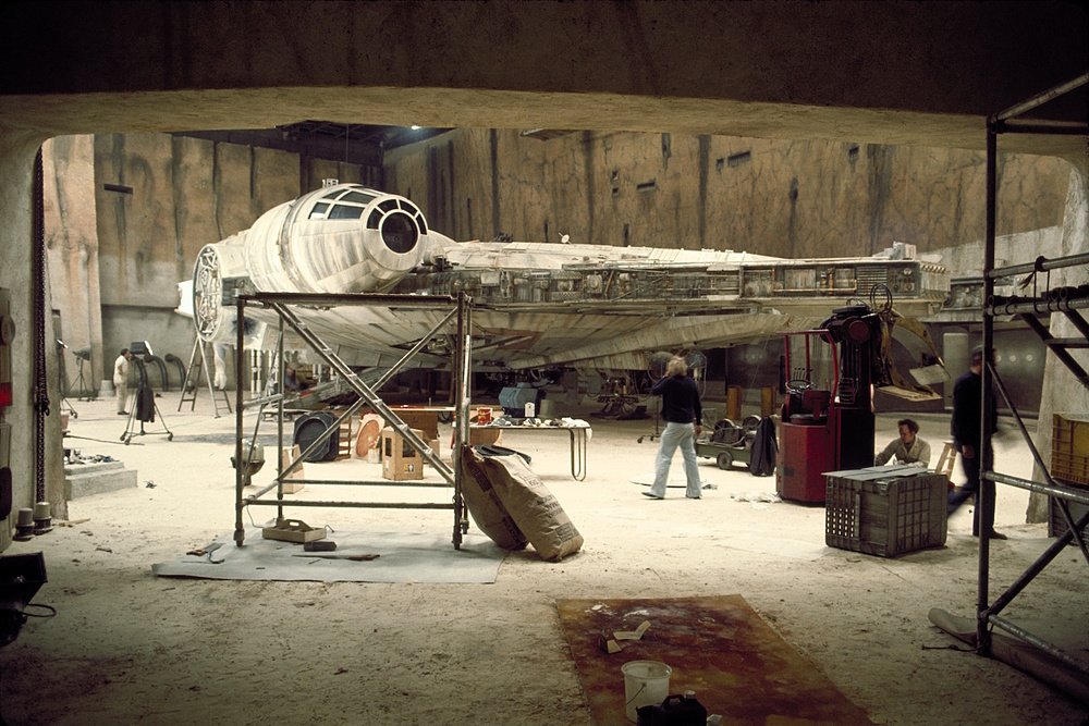 Docking Bay 94 was one of the first scenes shot at Elstree. Only half of the Falcon was built. When shooting finished, the set around the ship was torn down only to be rebuilt as the Death Star.