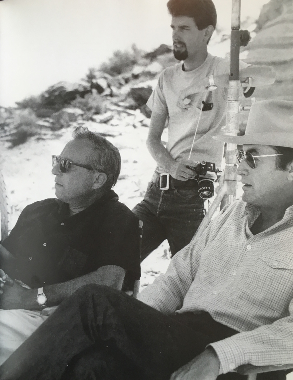 Lucas, ca 23yo with Carl Foreman (left) and Gregory Peck (right) on location in Utah or Arizona in 1967.