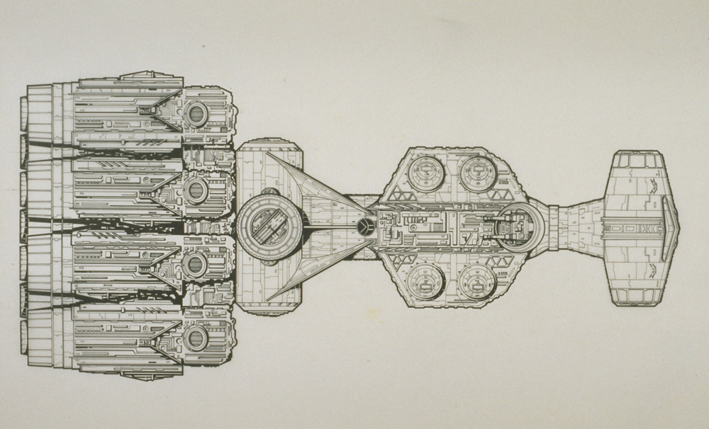 A technical illustration of the Blockade Runner by Joe Johnston.