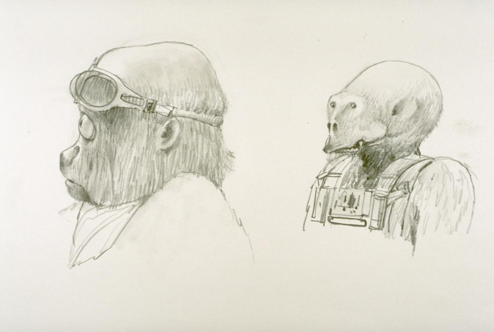 Possibly the earliest sketches of Chewie available today.