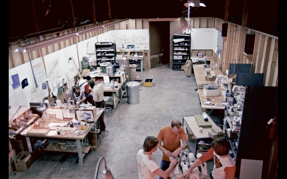 The ILM model shop, with Pirate Ship drawings on the walls and the first Pirate Ship in progress at the bottom.