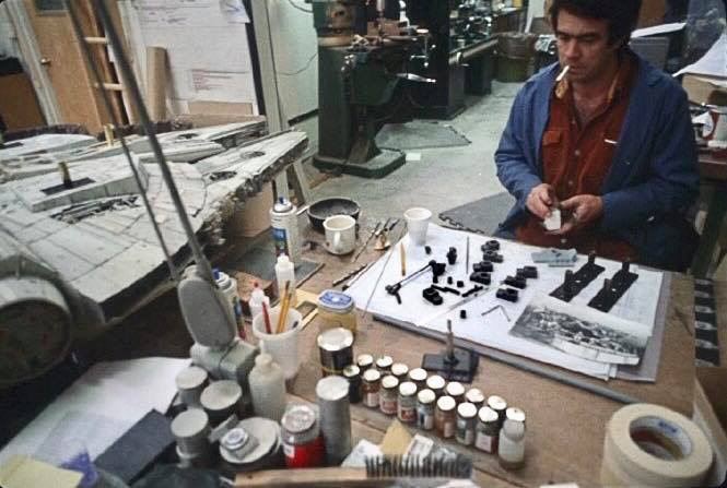 Michael Fulmer working on the new landing gear for the Empire Strikes Back Falcon. Notice the boxes on the front.