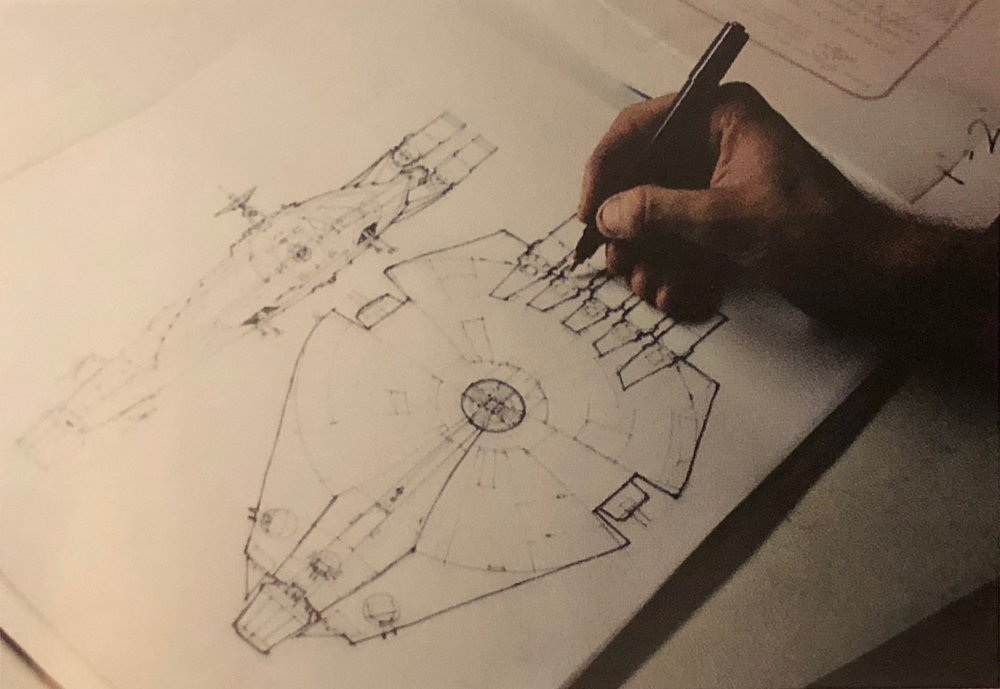 The missing link. A plan drawing of the intermediate step between the Pirate Ship and the Millennium Falcon. Finally printed in the 2018 art book for  Solo .