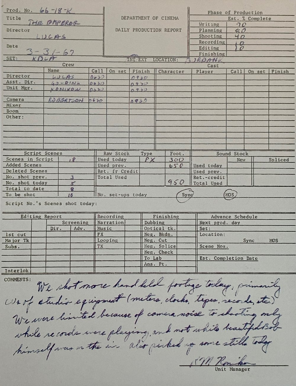 Daily production report from the shoot on March 31, 1967. Comments note that the crew was only allowed to shoot the emperor when records were playing due to noise from the camera!