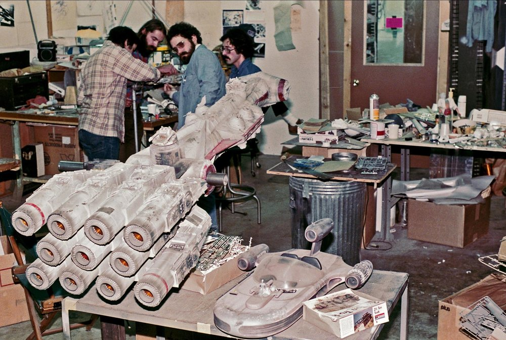 While this is the blockade runner configuration, I had to include this awesome photo of the model sitting in the model shop as the crew is working on a smaller version (used for the opening scene of the ship being sucked into the belly of the pursuing Star Destroyer).