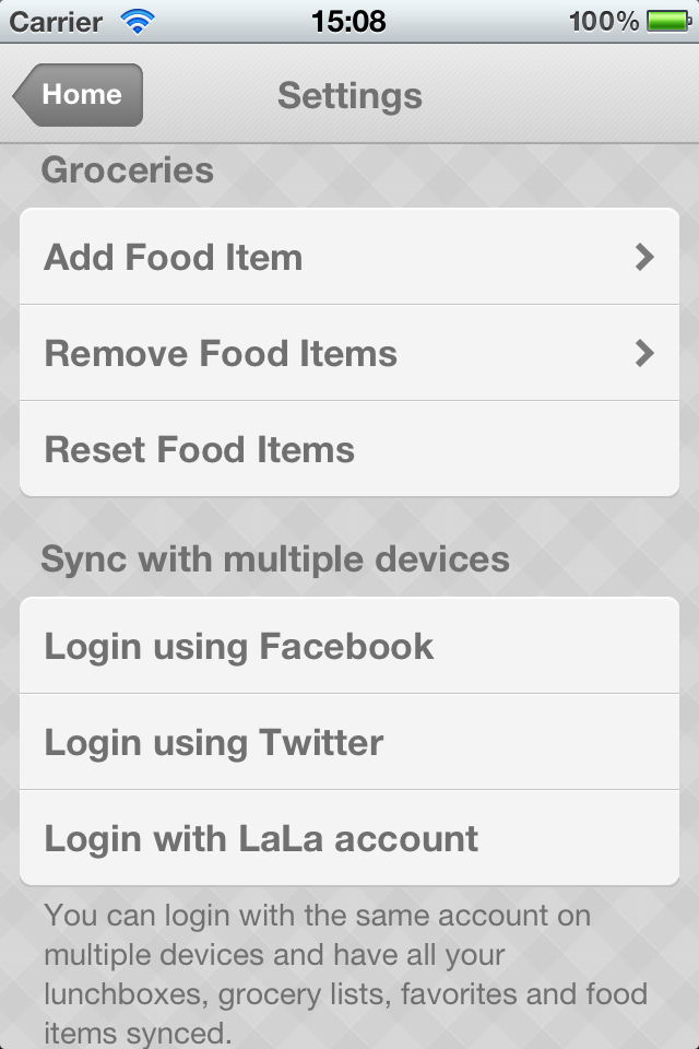 Share and sync lunchboxes with multiple iOS devices