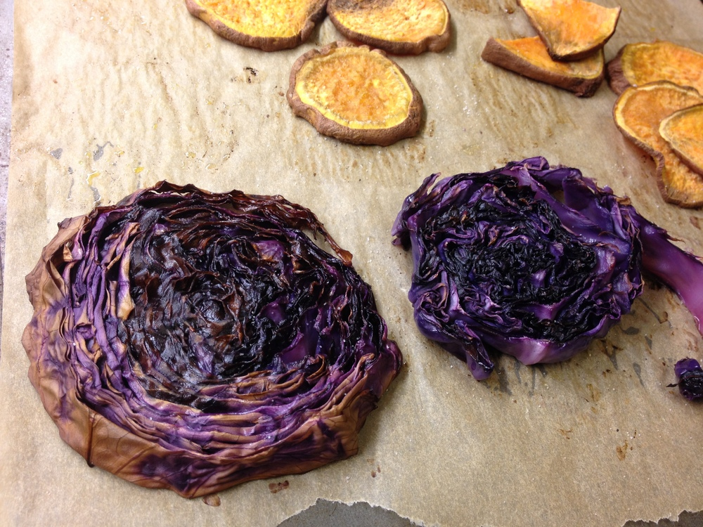 Roasted Purple Cabbage and Sweet Potato Chips