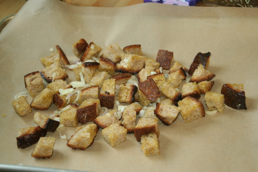 I spread the croutons out on parchment paper and baked at 375 degrees for 15 minutes.