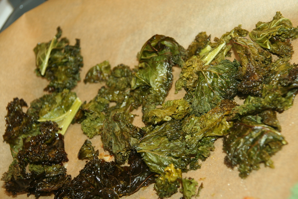 At the same time, I sliced my bunch of kale, drizzled with olive oil and spread it onto parchment paper. I roasted it at 375 for 15 minutes.