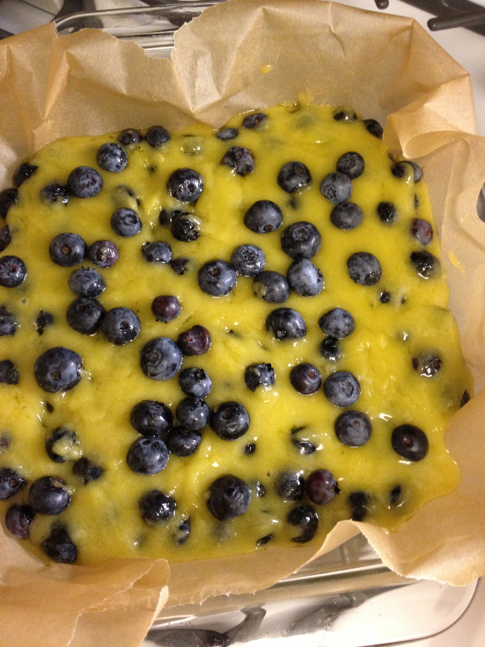 More batter and more blueberries.
