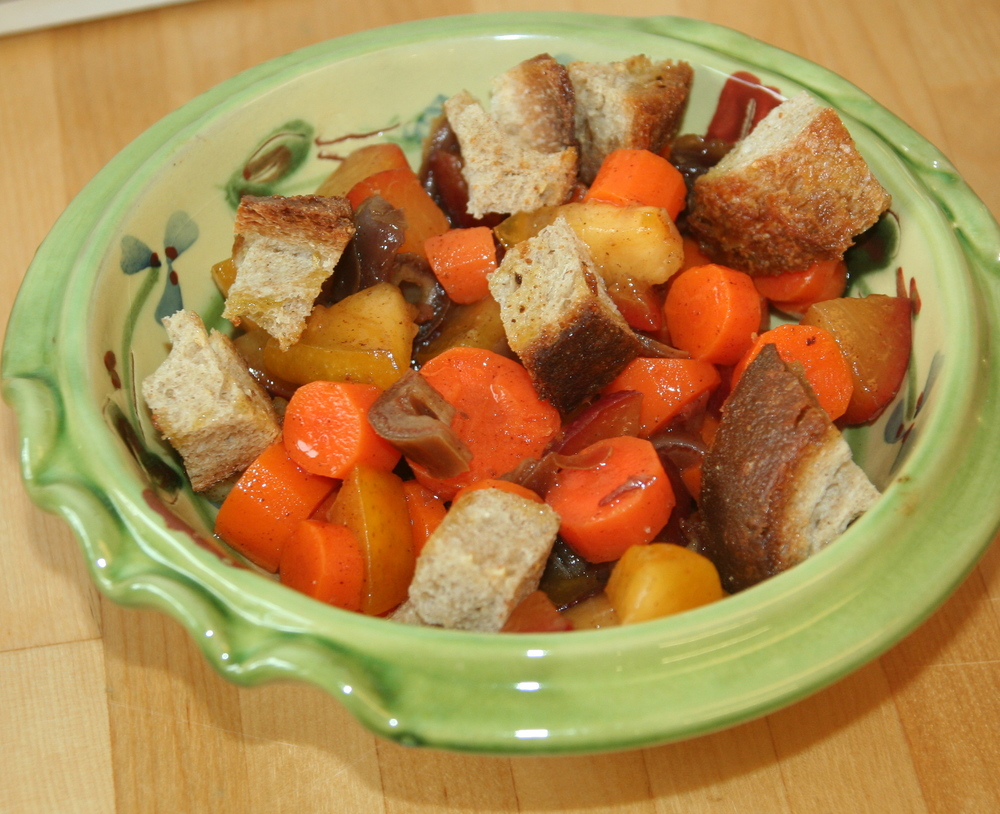 Carrot and Plum Salad with Dates and Croutons