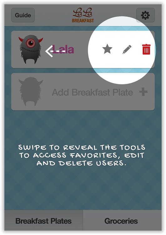 swipe to reveal the tools to edit breakfast plates