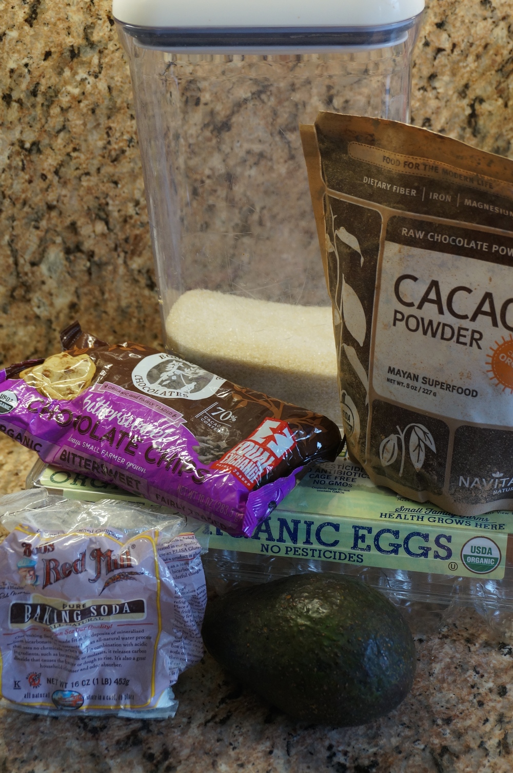 ingredients for avocado chocolate cookies