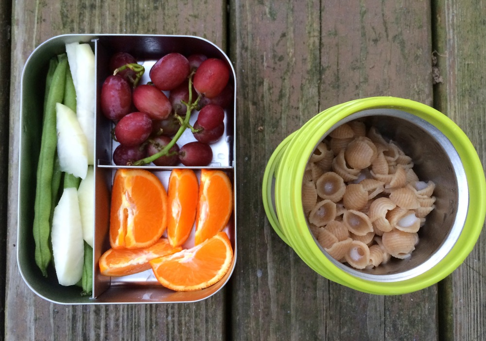 A thermos of Annie's whole wheat shells &white cheddar Mac-n-cheese, orange slices, grapes, green beans, and kohlrabi.