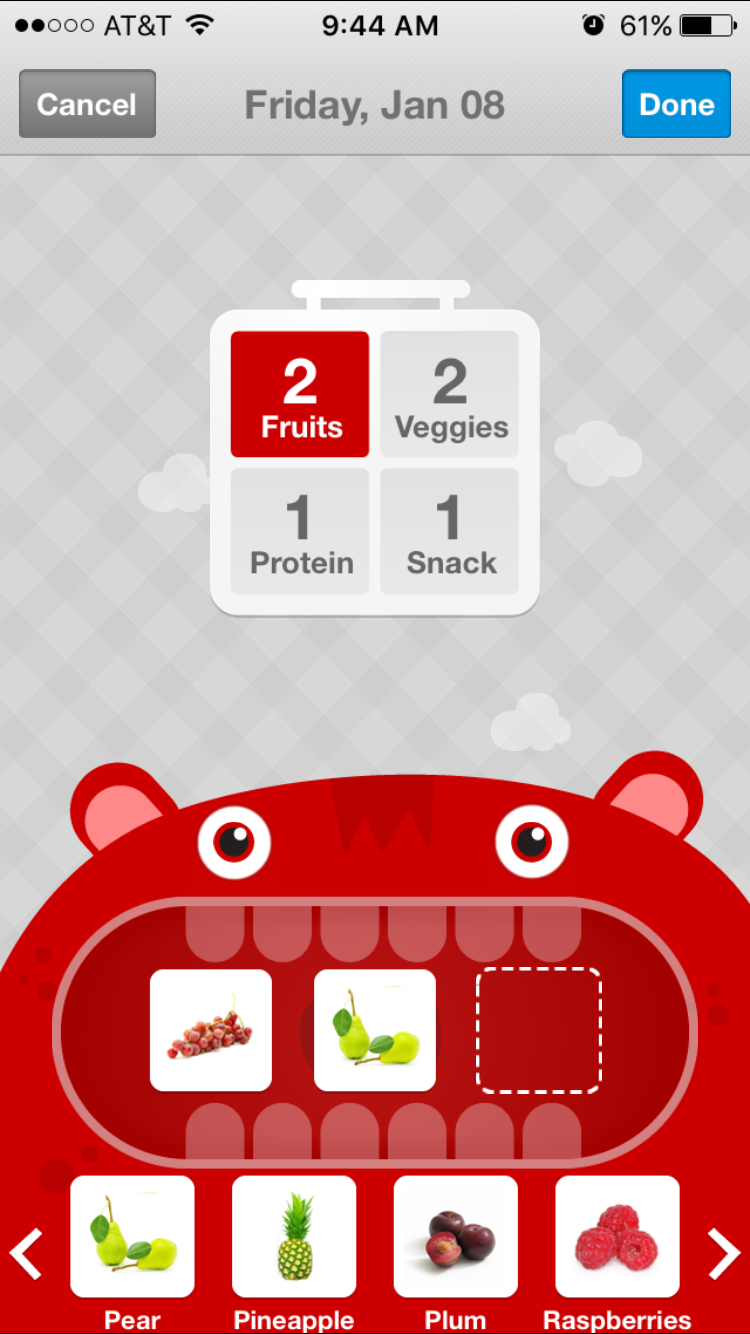LaLa Lunchbox meal planning screen