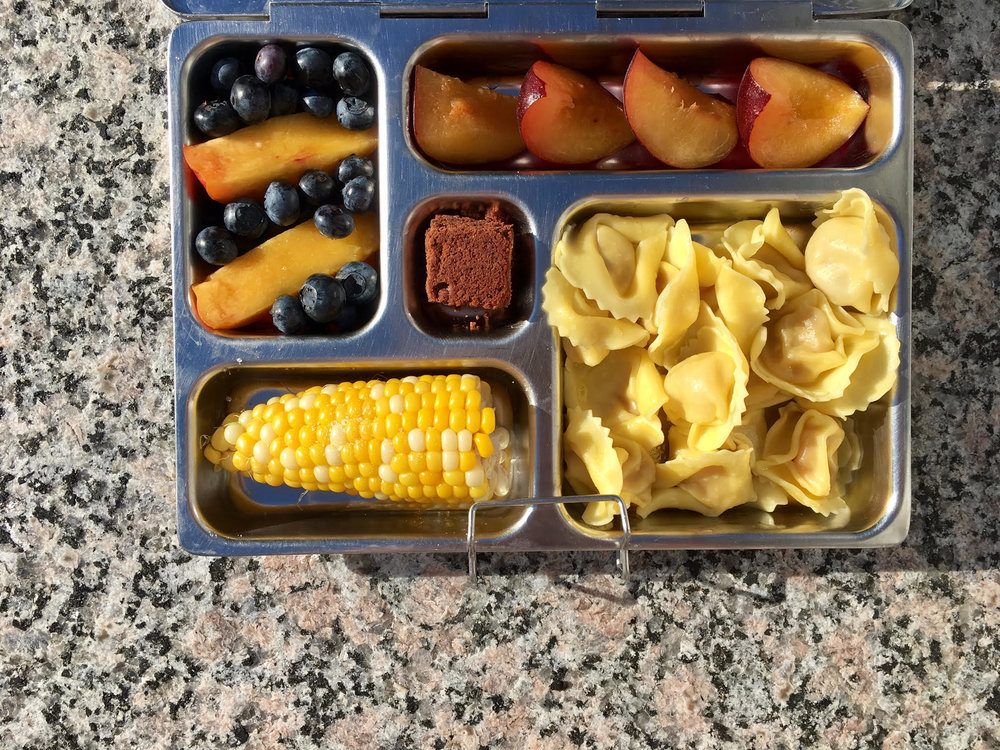 tortellini, plum, nectarine, blueberries, leftover corn and a brownie bite