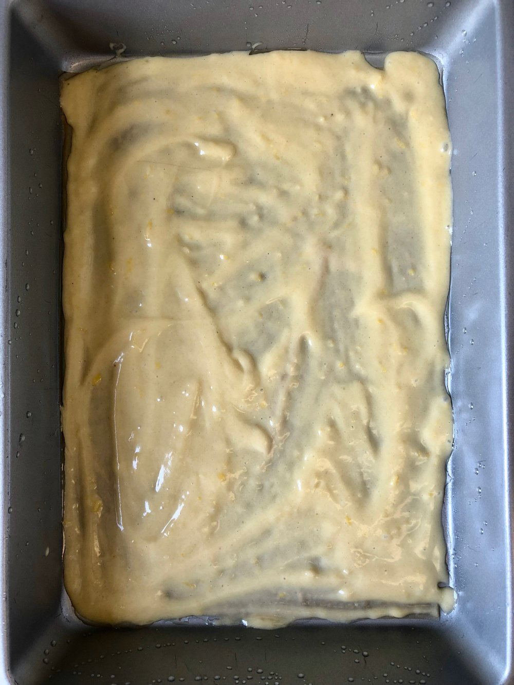 olive oil apricot cake batter layer 1