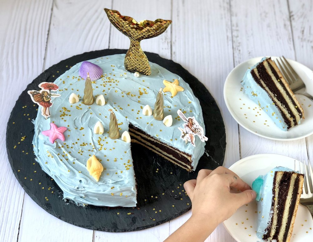 unicorn fairy mermaid cake