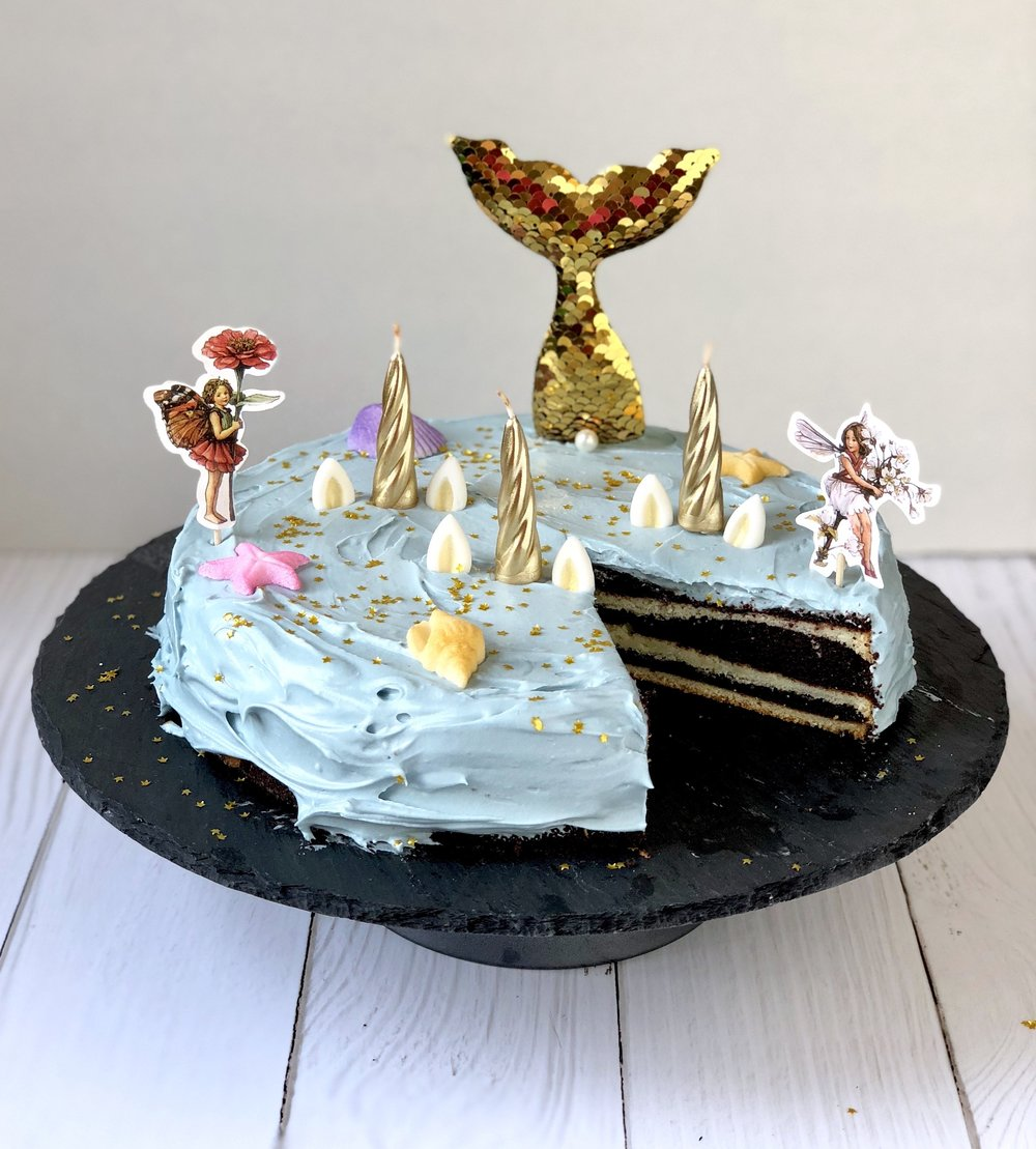 striped unicorn fairy mermaid cake