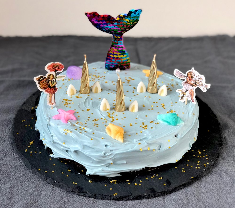 unicorn fairy mermaid birthday cake