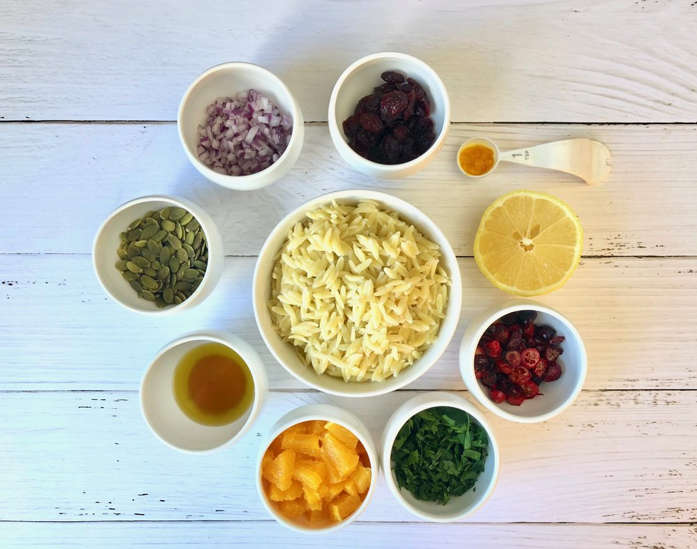 ingredients for cranberry orzo salad