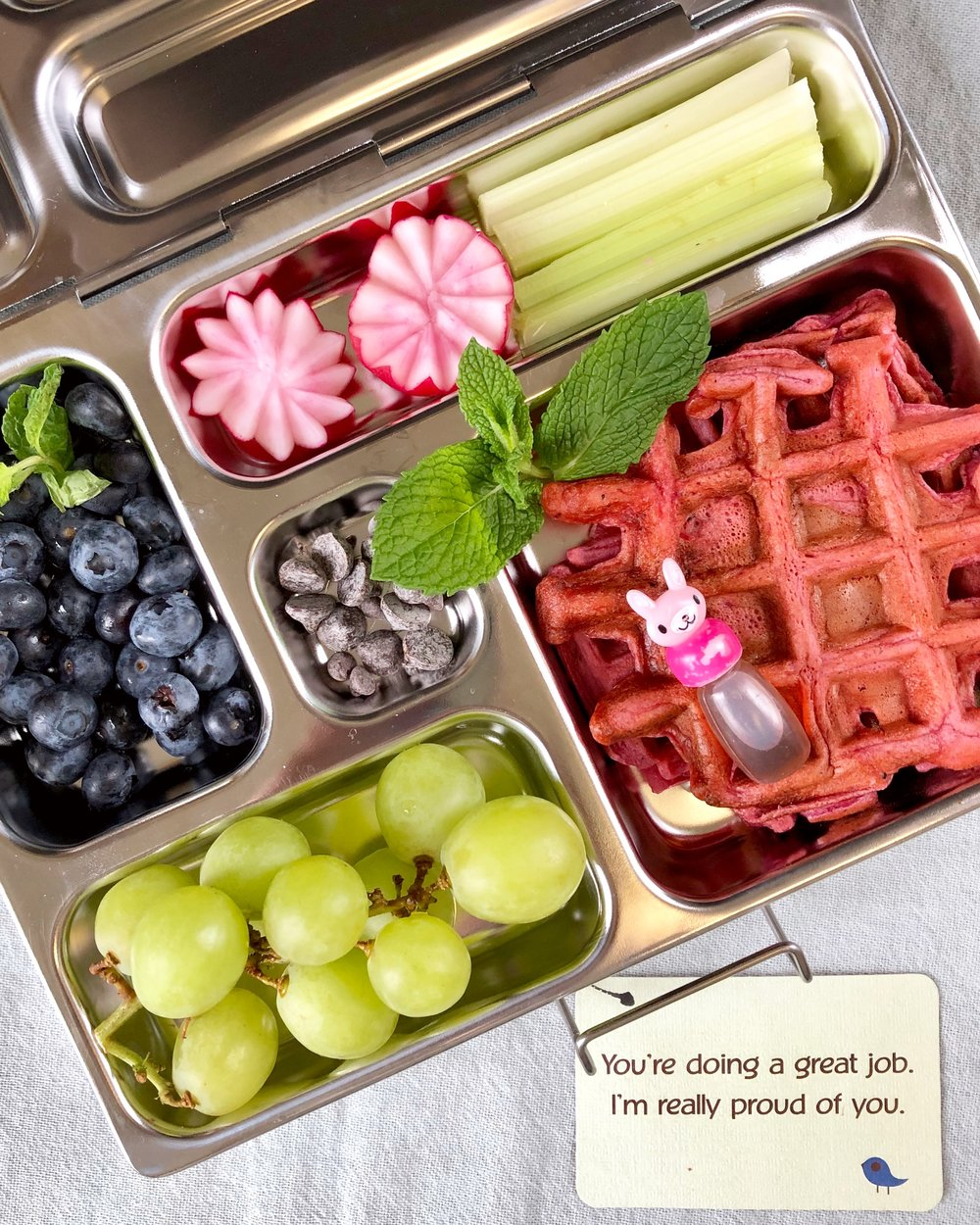 Pink Smoothie Waffles in the lunchbox