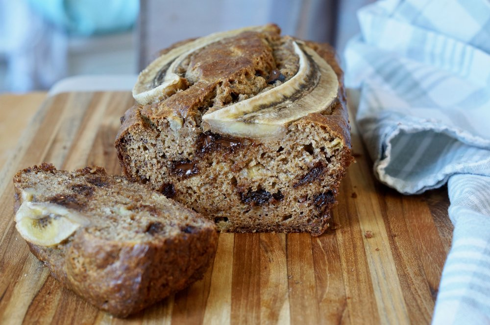 banana tahini bread with chocolate chips