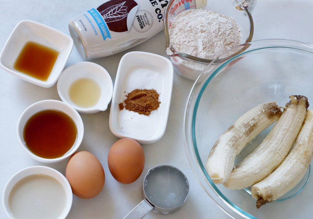 Banana Tahini Bread ingredients