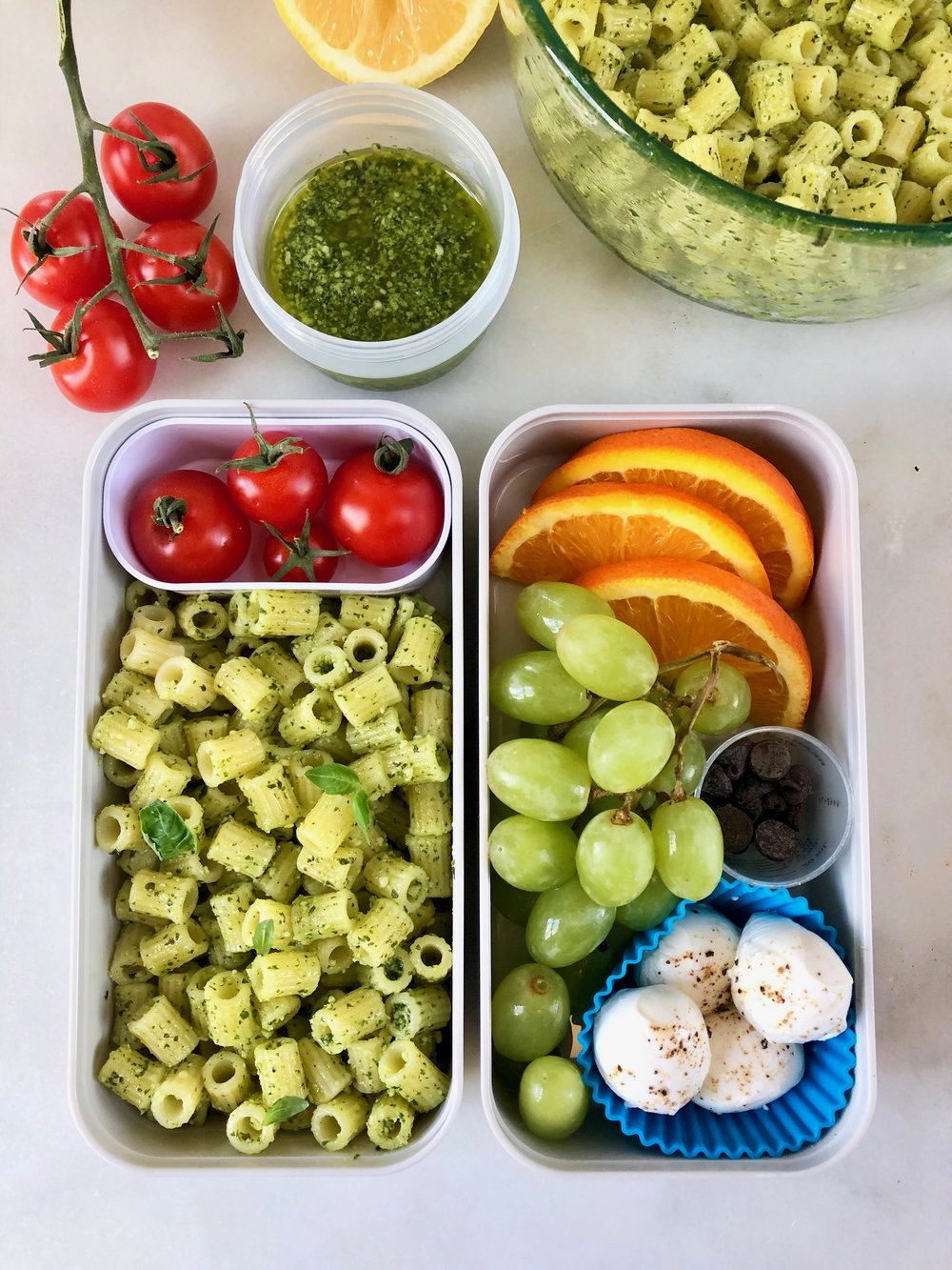 Nut Free Pesto Pasta Lunchbox