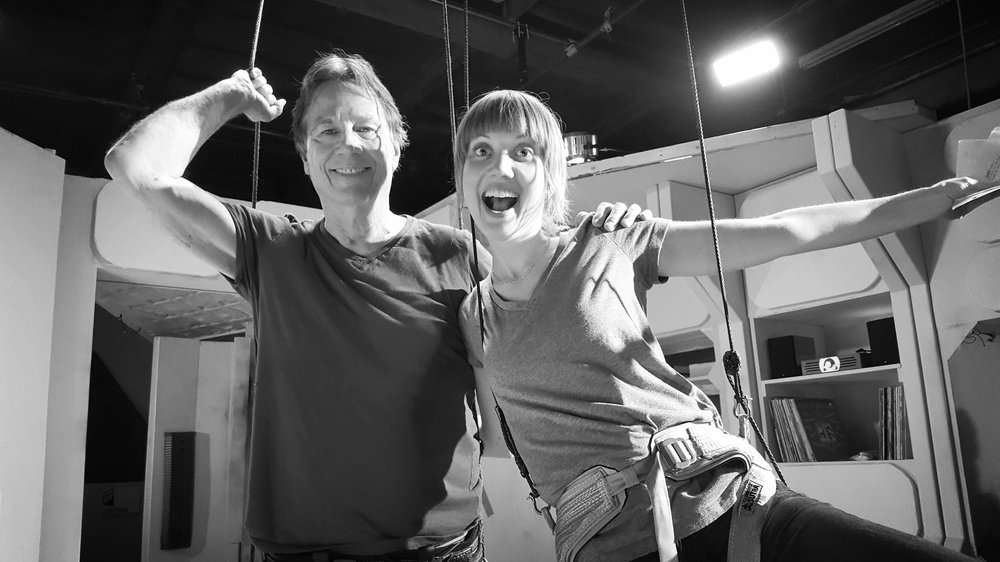 Richard Hatch and me on the set of Personal Space, getting ready to float in zero g.