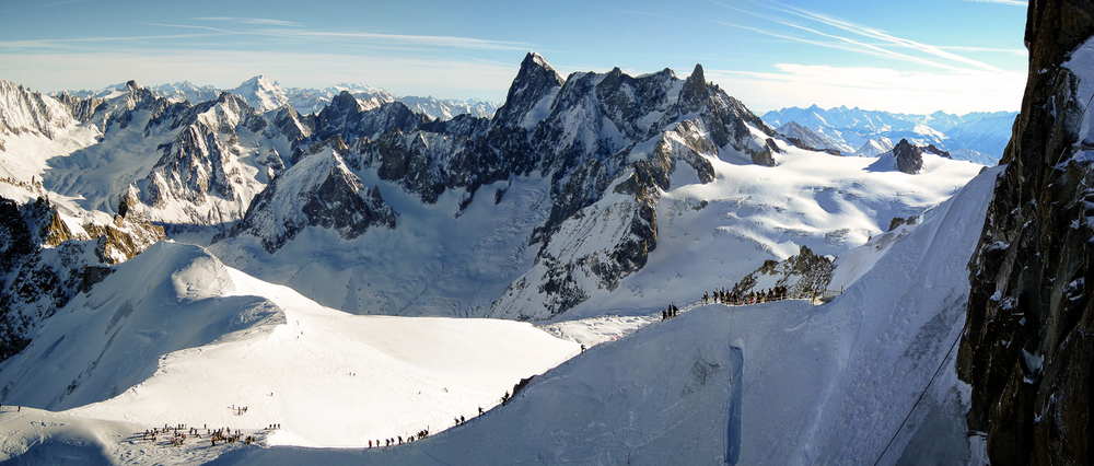 Skiers climbing down to the Mer de Glace