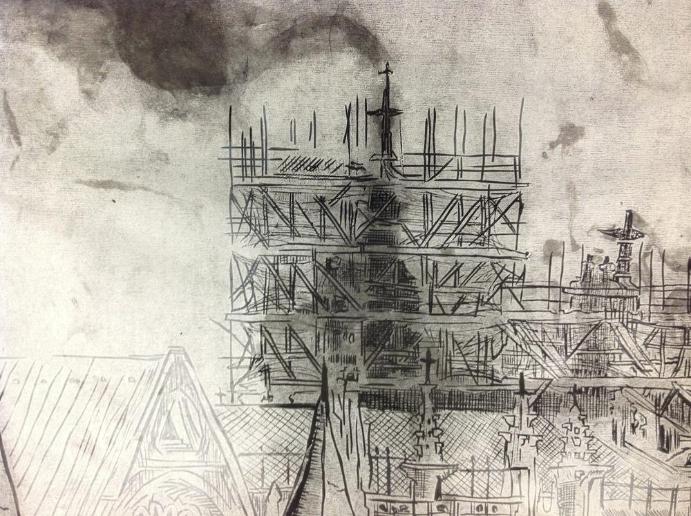 3.5' X4' woodcut (detail)