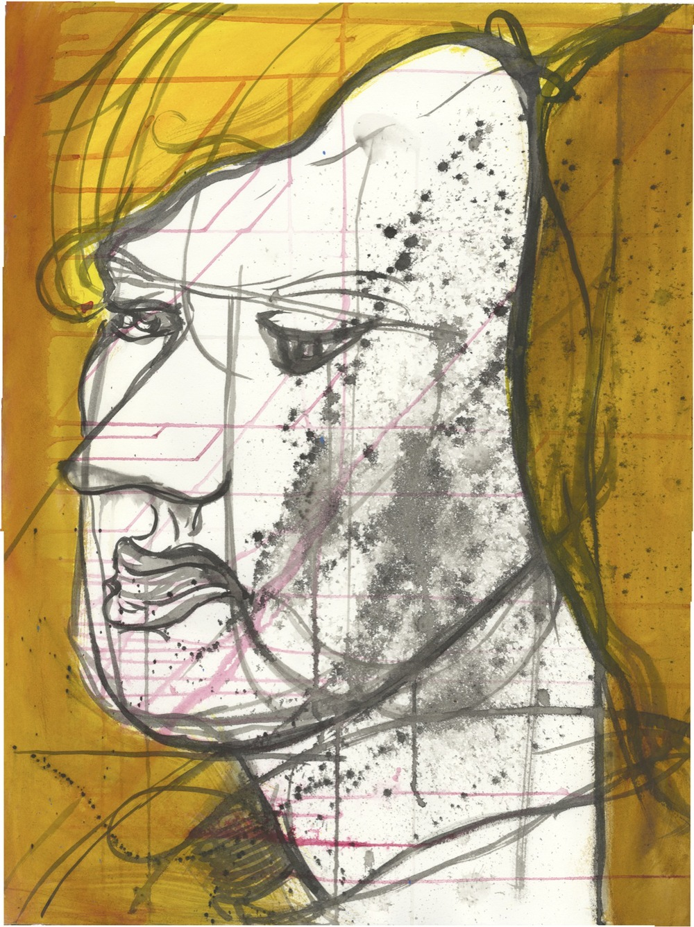 """Title: Portrait of Proximity Medium: ink on Rives BFK Year: 2012 Dimensions: 22"""" X 30"""""""