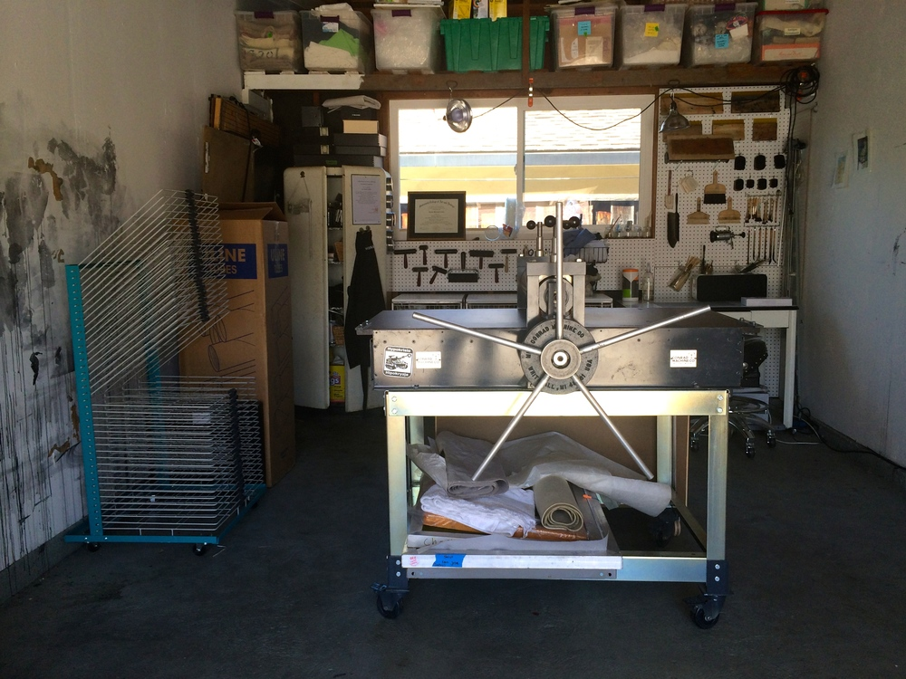 My studio today, with the Conrad Etching Press.