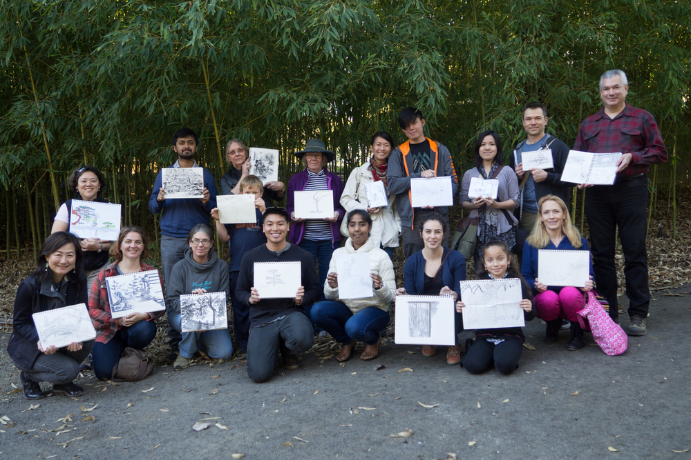 Group shot of the first South Bay Urban Sketchers Meetup of the new year: Hakone Gardens.