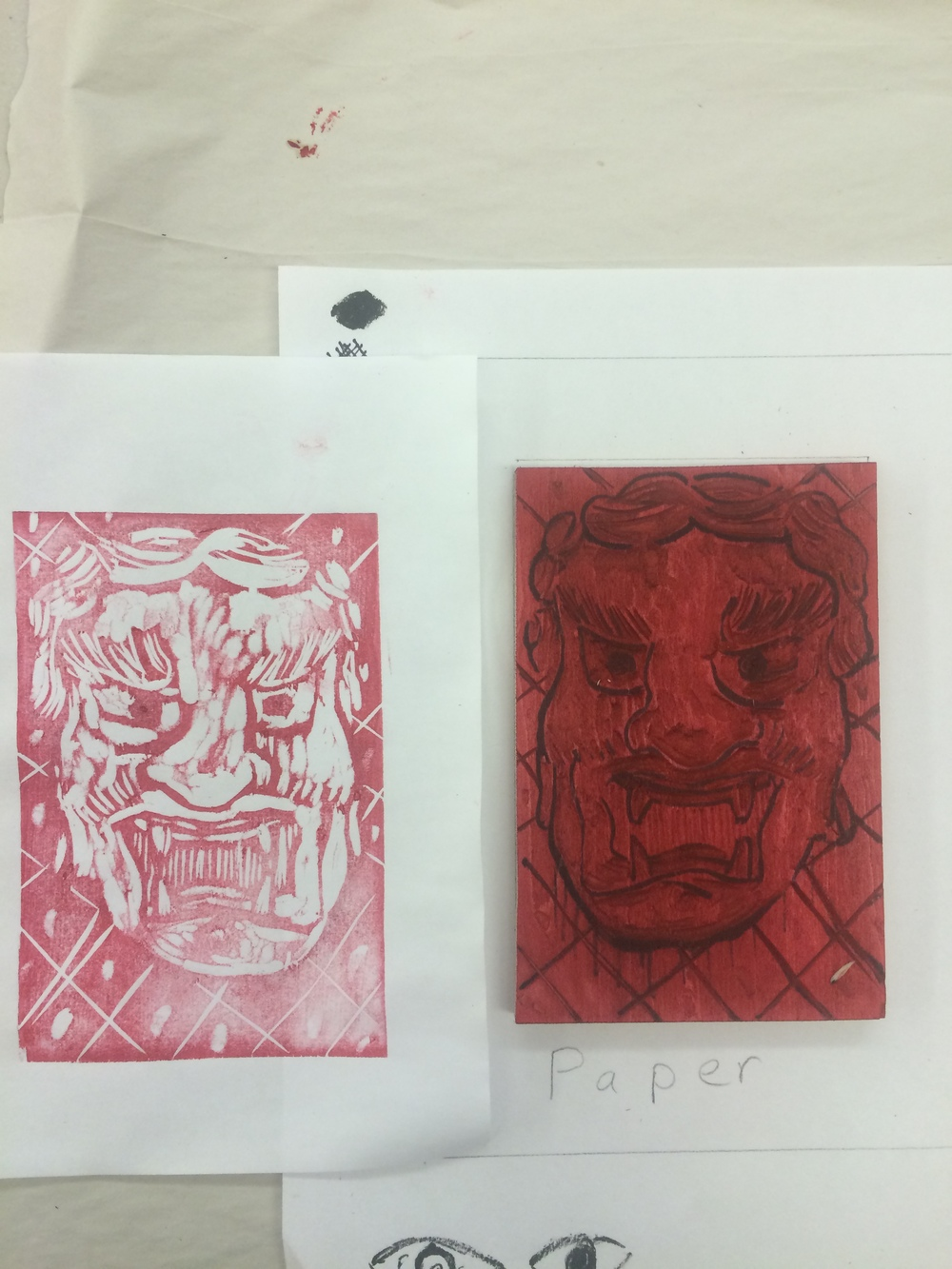 First proof from the woodblock using Akua inks.