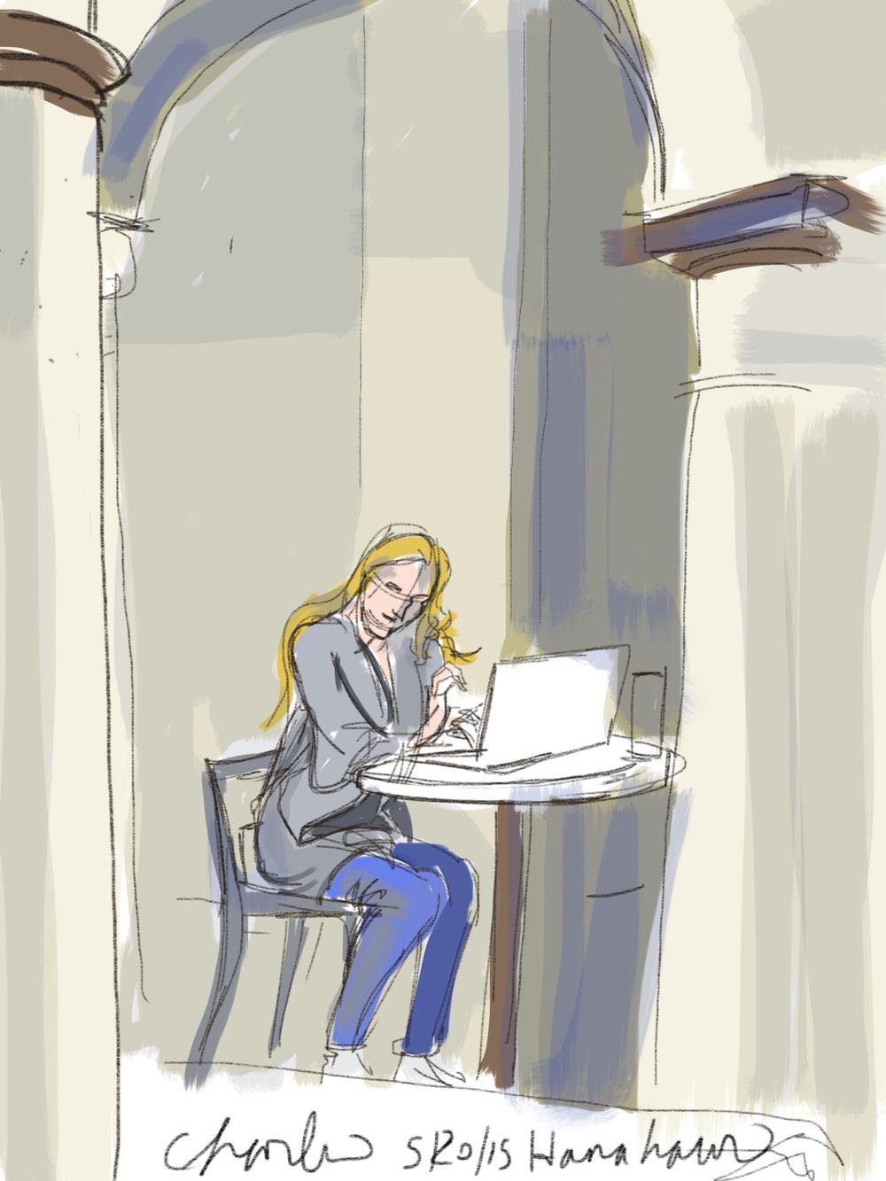 Woman in Hanahaus Courtyard.