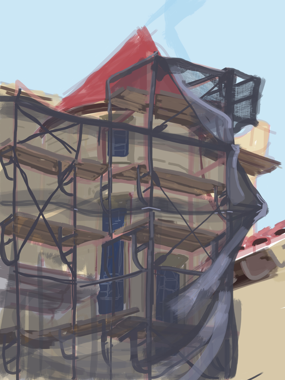 Scaffolds at the Stanford Memorial Church. Digital plain-air drawing.