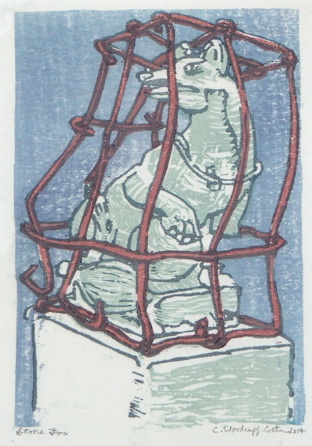 14 - art - woodcut - stone fox red.jpg